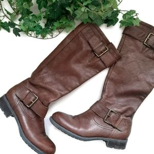 FRANCO SARTO brown leather side zip classic boots